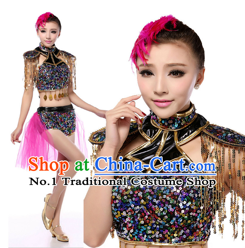 Chinese Modern Dance Costumes Apparel Dance Stores Dance Gear Dance Attire and Hair Accessories Complete Set for Women