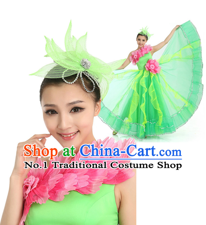Chinese Flower Dance Costumes Apparel Dance Stores Dance Gear Dance Attire and Hair Accessories Complete Set for Women