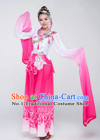 Chinese Traditional Long Water Sleeve Dance Costumes Complete Set for Women