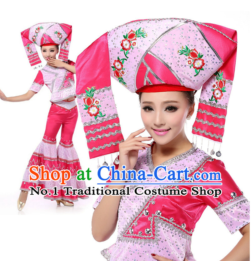 Chinese Stage Zhuang Minority Costumes Apparel Dance Stores Dance Gear Dance Attire and Hair Accessories Complete Set