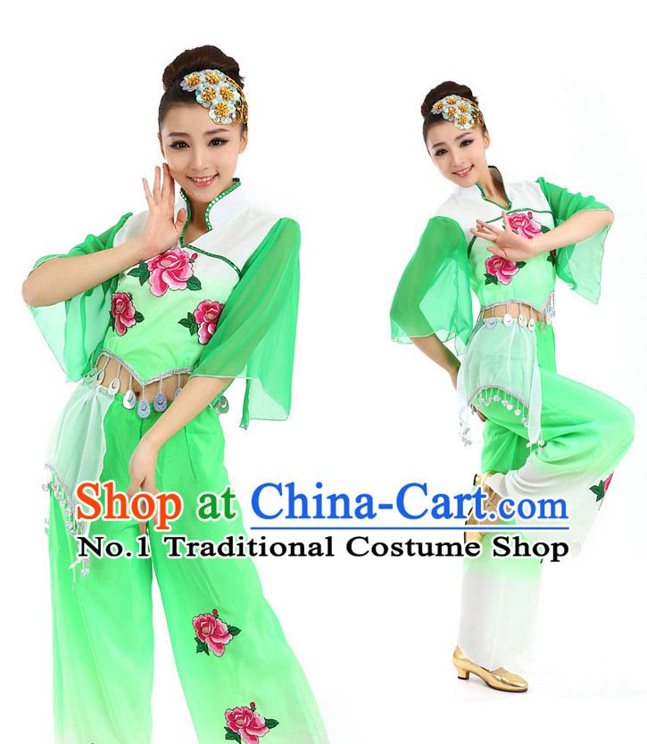 Asian Chinese Peony Dance Costume Dance Stores Dance Gear Dance Attire and Hair Accessories Complete Set