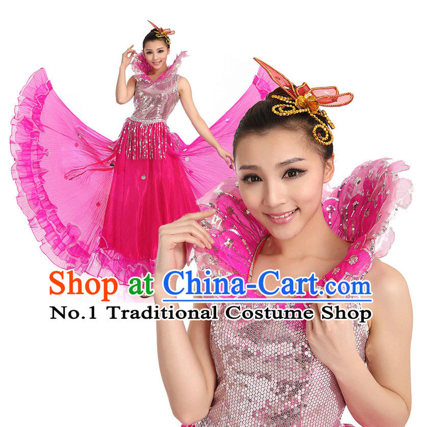 Asian Chinese Dance Costume Dance Stores Dance Gear Dance Attire and Hair Accessories Complete Set