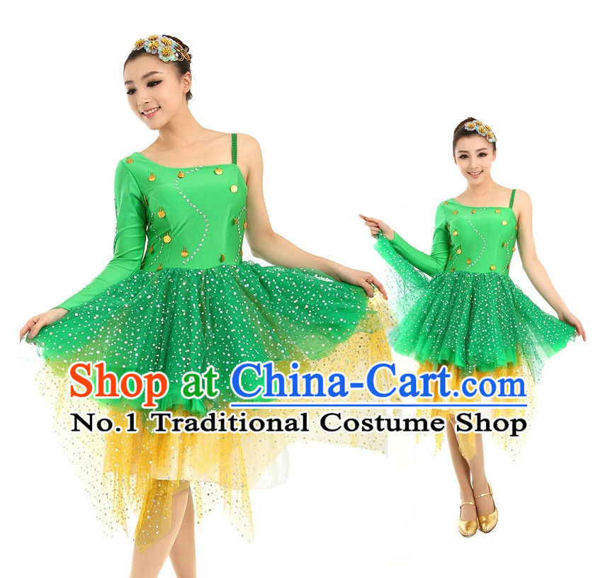 Asian Chinese Dance Costume Dance Attire and Hair Accessories Complete Set