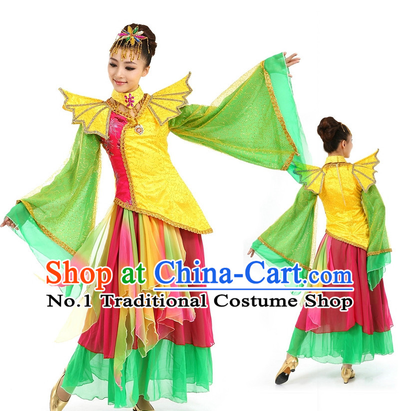Asian Chinese Dancing Costume Dance Attire and Hair Accessories Complete Set