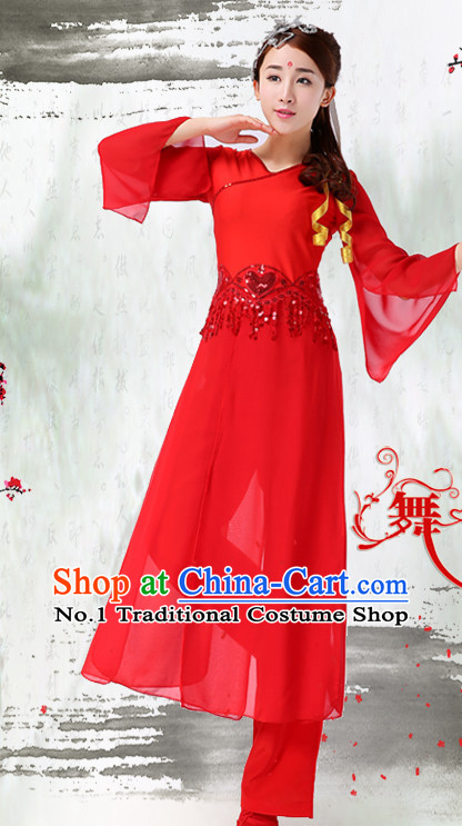 Asian Chinese Red Classical Dancing Costume Dance Attire and Hair Accessories Complete Set