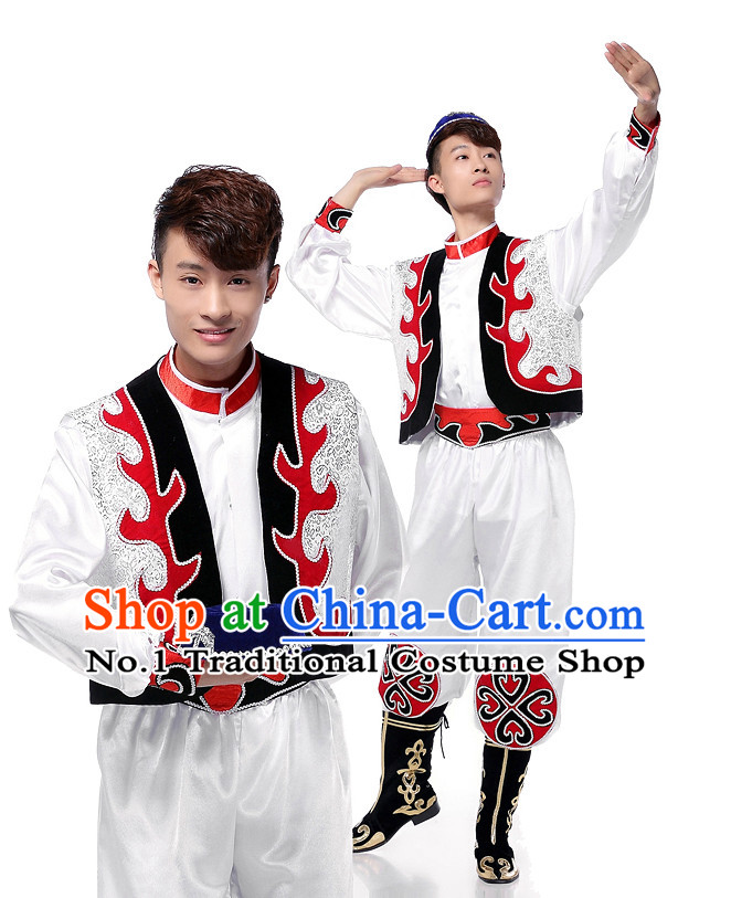 Asian Chinese Xinjiang Dancing Costume Dance Attire and Hair Accessories Complete Set