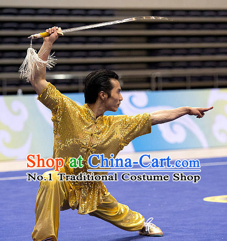 Top Gold Martial Arts Uniform Supplies Kung Fu Southern Swords Broadswords Competition Uniforms for Men