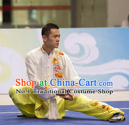 Top Embroidered Tai Chi Swords Championship Costumes Taijiquan Uniforms Quigong Uniform Thaichi Martial Arts Qi Gong Combat Clothing Competition Clothes for Men
