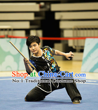 Top Black  Kung Fu Stick Competition Uniforms Kungfu Training Suit Kung Fu Clothing Kung Fu Movies Costumes Wing Chun Costume Shaolin Martial Arts Clothes for Women