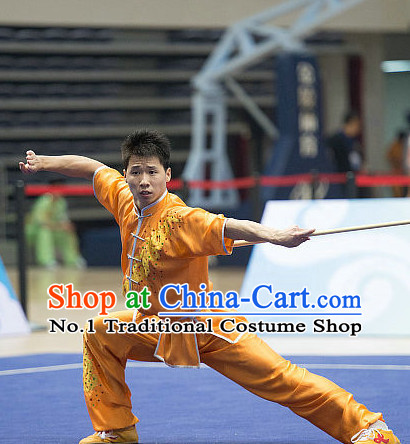 Top Orange Kung Fu Stick Competition Uniforms Kungfu Training Suit Kung Fu Clothing Kung Fu Movies Costumes Wing Chun Costume Shaolin Martial Arts Clothes for Men