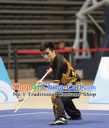 Top Dragon Pattern Kung Fu Stick Competition Uniforms Kungfu Training Suit Kung Fu Clothing Kung Fu Movies Costumes Wing Chun Costume Shaolin Martial Arts Clothes for Men