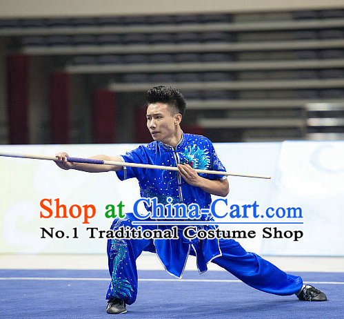 Top Embroidered Kung Fu Stick Competition Uniforms Kungfu Training Suit Kung Fu Clothing Kung Fu Movies Costumes Wing Chun Costume Shaolin Martial Arts Clothes for Men