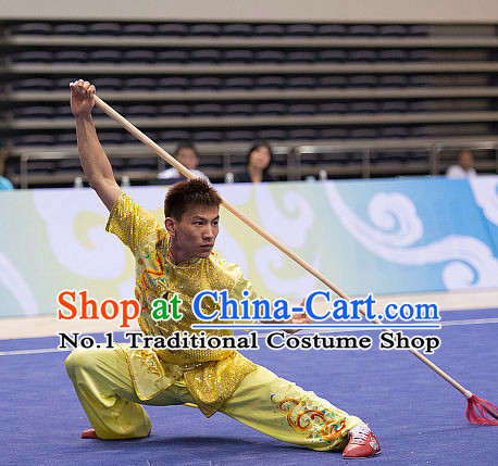 Top Shinning Embroidered Kung Fu Stick Competition Uniforms Kungfu Training Suit Kung Fu Clothing Kung Fu Movies Costumes Wing Chun Costume Shaolin Martial Arts Clothes for Men