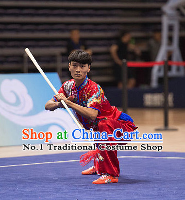 Top Red Kung Fu Stick Competition Uniforms Kungfu Training Suit Kung Fu Clothing Kung Fu Movies Costumes Wing Chun Costume Shaolin Martial Arts Clothes for Men