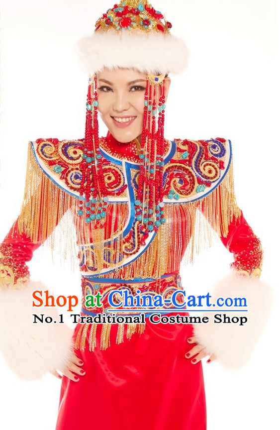 Chinese Ethnic Mongolian Princess Costumes and Hat Complete Set for Women