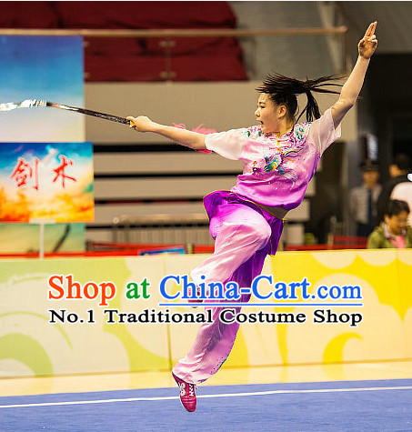 Top Pink Purple Chinese Kung Fu Sword Uniforms Martial Arts Competition Costume for Women