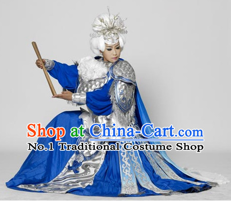 Chinese Opera Pantaloon Female Warrior General High Collar Fighting Costumes Complete Set for Women
