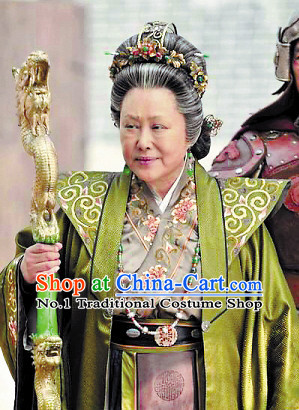 Chinese Traditional Pantaloon Wise Old Lady Costumes Complete Set and Cruth