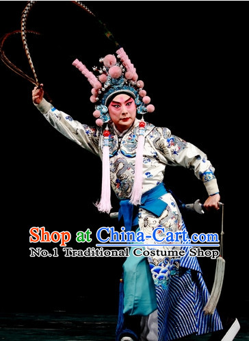Chinese Ancient Wu Sheng Costumes Fighting or Military Character Costume and Long Pheasant Feather Tail Helmet Complete Set for Men