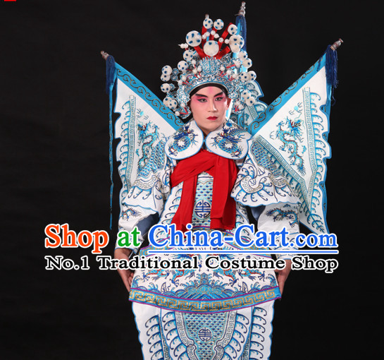 Chinese White Beijing Opera Wu Sheng Fighting or Military Character Armor Costumes Flags and Helmet Full Set for Men