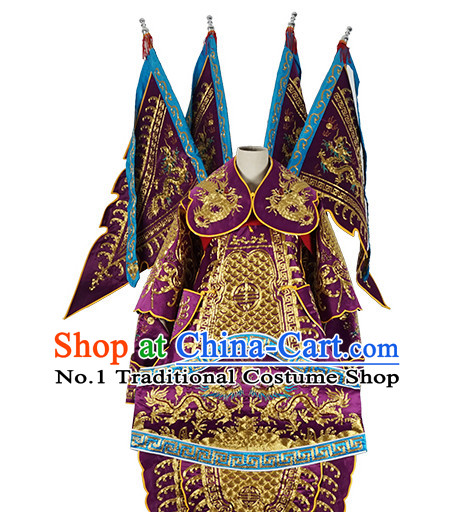 Chinese Purple Theatrical Costume Beijing Opera Costumes Peking Opera Wu Sheng Embroidered Armor Costumes and Flags for Men