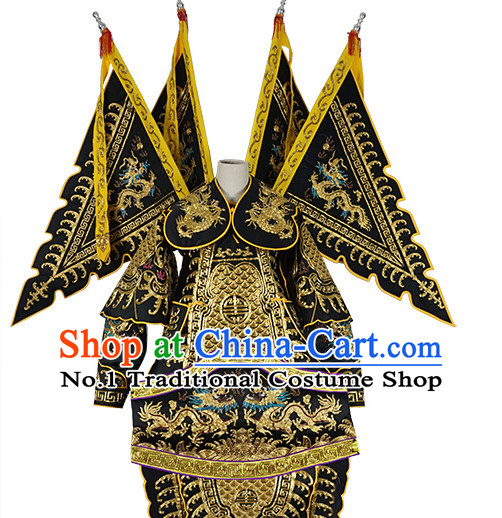 Chinese Black Theatrical Costume Beijing Opera Costumes Peking Opera Wu Sheng Embroidered Armor Costumes and Flags for Men
