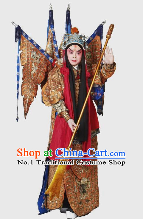 Chinese Yellow Theatrical Costume Beijing Opera Costumes Peking Opera Wu Sheng Embroidered Armor Costumes and Flags for Men