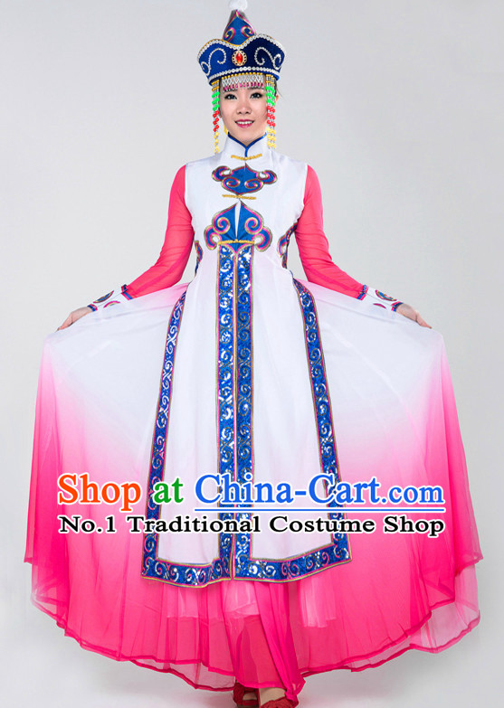 Asian China Mongolian Clothes and Hat Complete Set for Women