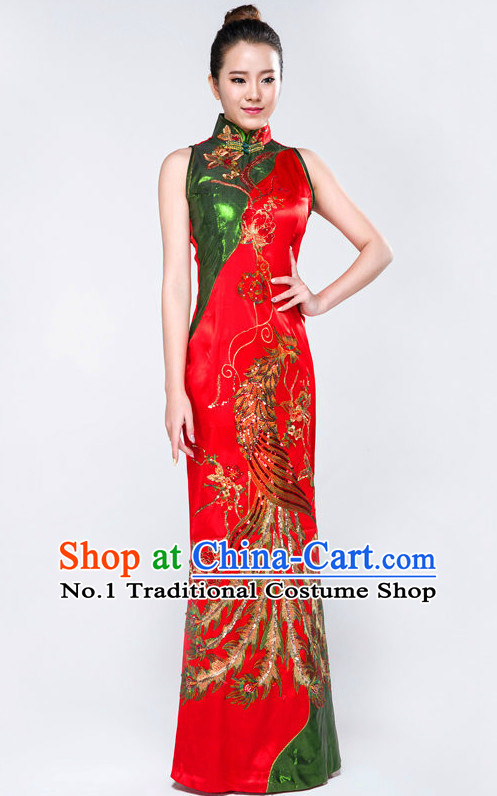 Traditional Chinese Cheongsam Qipao Phoenix Dance Costumes Complete Set for Women