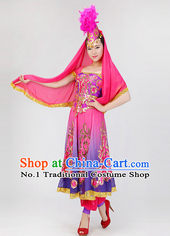 Traditional Chinese Xinjiang Ethnic Clothing Complete Set for Women