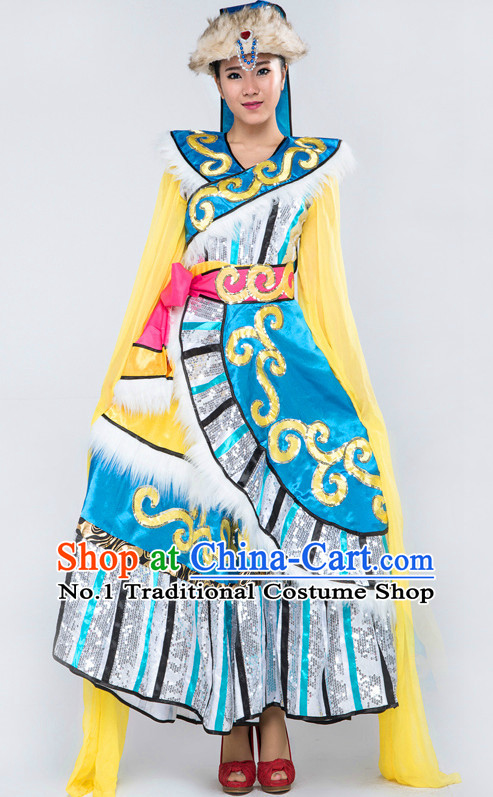 Chinese Tibetan Classical Girls Dancewear Dance Costume for Competition