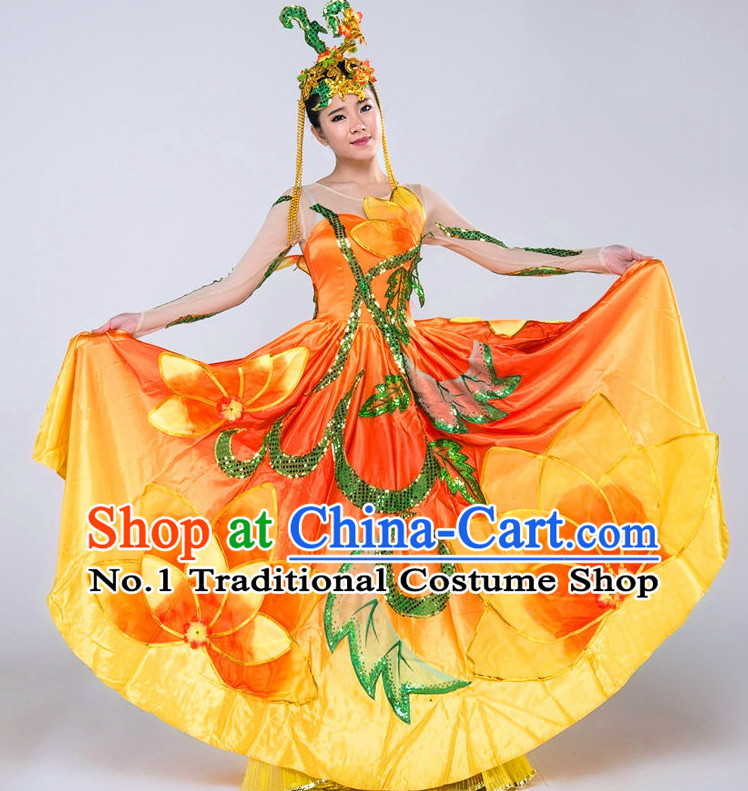 Chinese Flower Dance Costumes Girls Dancewear Dance Costume for Competition