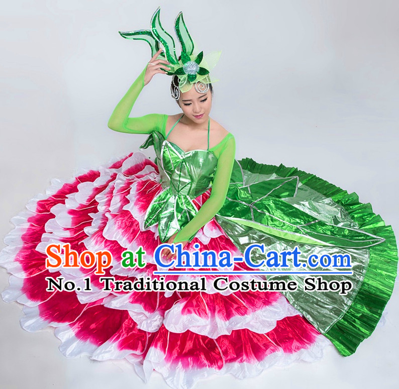 Chinese Classical Competition Dance Costumes and Hat Complete Set for Women