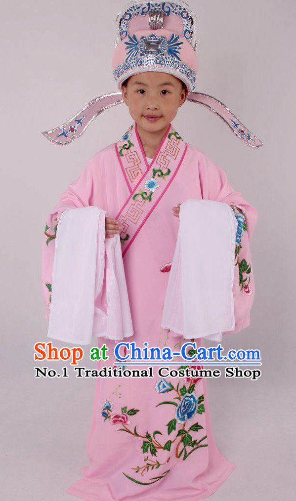 Chinese Culture Chinese Opera Costumes Chinese Cantonese Opera Beijing Opera Costumes Young Scholar Costumes and Hat Complete Set for Kids