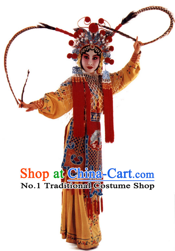 Chinese Culture Chinese Opera Costumes Chinese Cantonese Opera Beijing Opera Costumes Wu Tan Costumes and Hat Complete Set