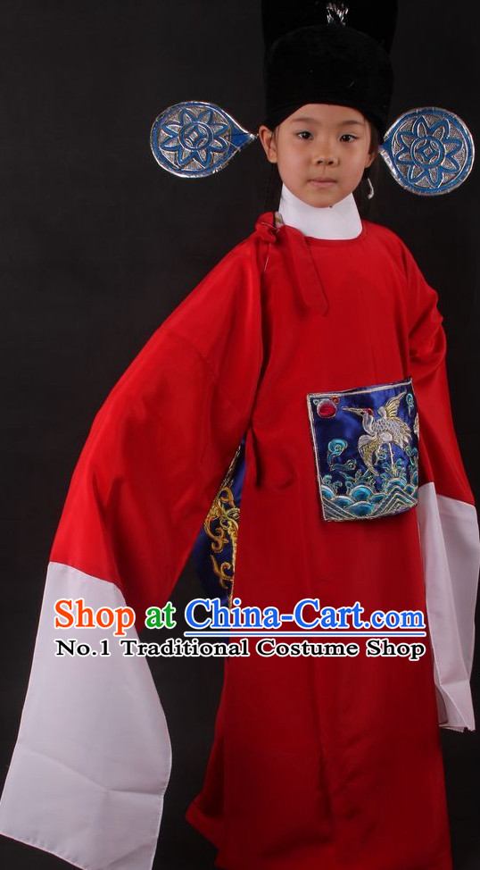 Chinese Culture Chinese Opera Costumes Chinese Cantonese Opera Beijing Opera Costumes Judge Justice Costumes and Hat for Kids