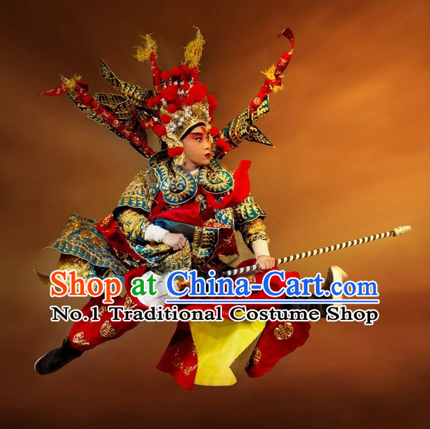 Asian Chinese Beijing Opera Peking Opera Wu Sheng Armor Costumes and Helmet for Men