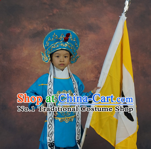 Chinese Ancient Beijing Opera Peking Opera Solider Costumes and Hat for Kids