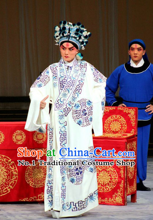 Chinese Ancient Beijing Opera Peking Opera Wu Sheng Costume and Helmet Complete Set for Men