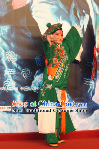 Chinese Ancient Beijing Opera Peking Opera Wu Sheng Costume and Hat Complete Set for Kids
