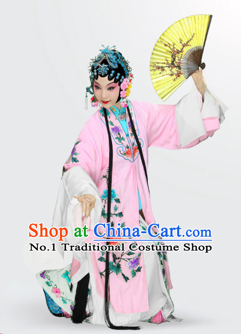 China Beijing Opera Peking Opera Hua Tan Hua Dan Long Robe Costumes and Hair Accessories Complete Set for Women