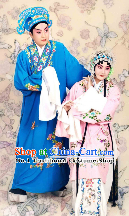 Chinese Peking Opera Beijing Opera Xiao Sheng and Wu Tan Costumes and Hat 2 Sets