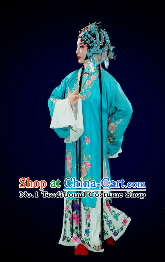 Chinese Peking Opera Beijing Opera Hua Tan Long Robe and Skirt Costumes and Hair Accessories Complete Set for Women