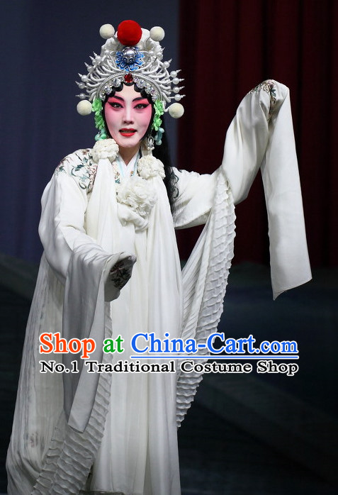 Pure White Chinese Beijing Opera Hua Dan Hua Tan Costumes and Hair Accessories Complete Set for Women