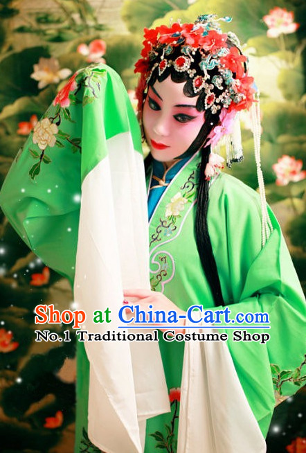 Green Chinese Beijing Opera Hua Dan Hua Tan Costumes and Hair Accessories Complete Set for Women