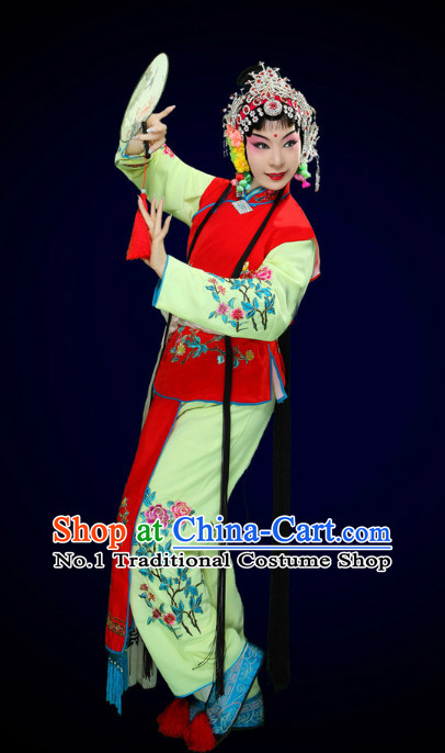 Chinese Peking Opera Beijing Opera Hua Tan Costumes and Hair Accessories Complete Set for Women