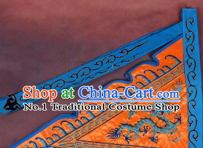Chinese Peking Opera Beijing Opear Fighting Embroidered Dragon Flag