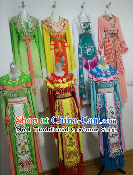 Asian Chinese Traditional Dress Theatrical Costumes Ancient Chinese Clothing Chinese Attire Peking Opera Princess Costumes 7 Sets