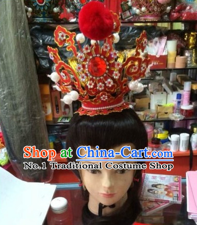 Top Traditional Chinese Peking Opera Theatrical Costumes Jia Baoyu Coronet and Black Long Wigs