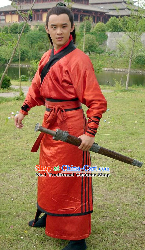 Chinese Ancient Red Hanfu Dress for Boys